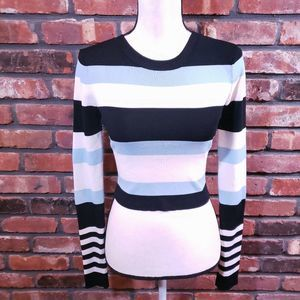 Lovers + Friends Striped Crewneck Cropped Sweater
